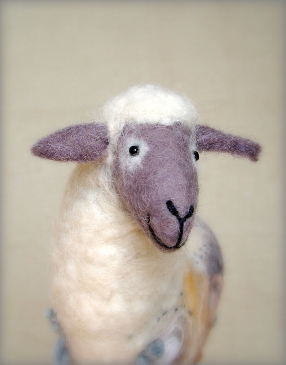 Barbara - Felt Sheep,Art Marionette. Puppet. Felted Stuffed Toy. Waldorf Style Sheep. MADE TO ORDER