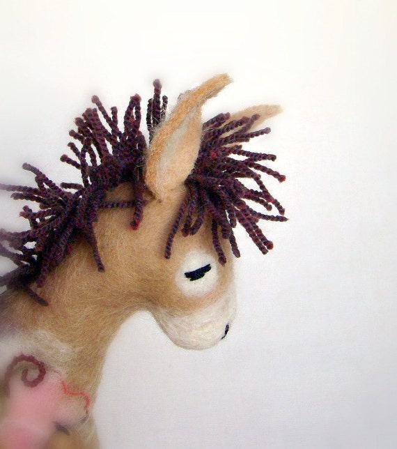 Catherine - Felt Donkey. Art Toy. Felted Stuffed Marionette Puppet Handmade Soft Toys. beige cream neutral purple brown. MADE TO ORDER.