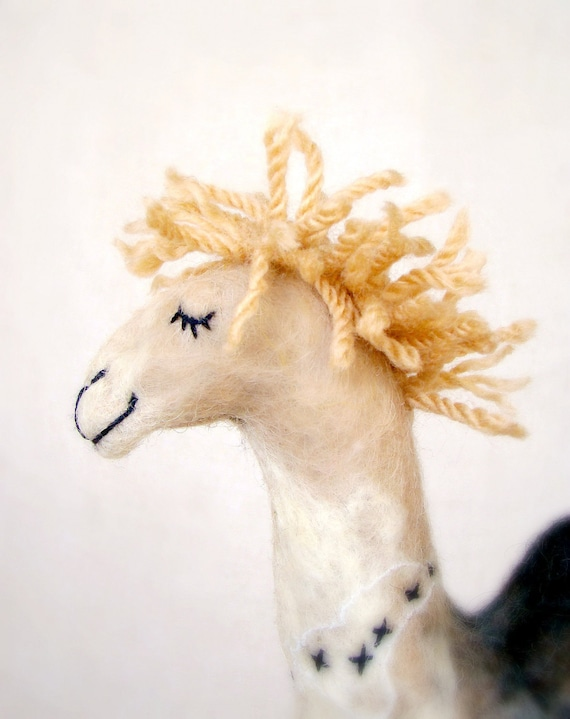 Camila - Felt Camel. Art  Marionette Puppet Felted Animals Handmade Soft Stuffed Toy. beige cream neutral ivory brown. MADE TO ORDER