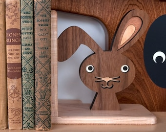 Wood Bunny Bookend: Heirloom Kids Baby Nursery Children