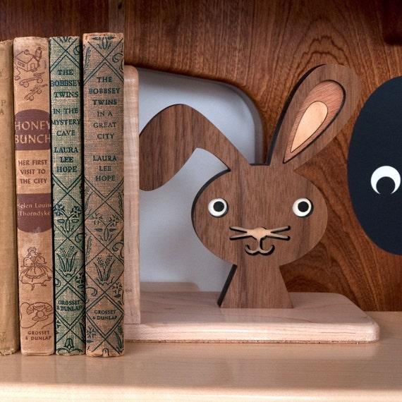 Wood Bunny Bookend: Heirloom Kids Baby Nursery Children