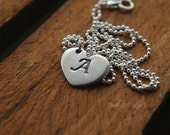 Fine Silver Heart Initial Necklace