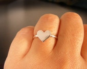 Heart ring  ,  Sterling Silver heart ring , Handmade metalwork.