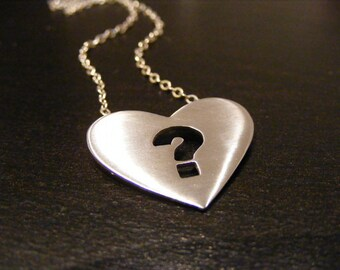 heart pendant , Heart necklace ,Question mark pendant , Question mark necklace ,Sterling Silver heart  and Question mark  necklace.