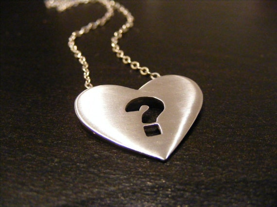 Items similar to heart pendant , Heart necklace ,Question mark ...