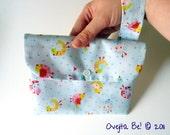 "Blue clutch handbag ""Birds"" with wrist strap ///SALE///"