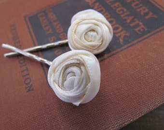 Cream Rosette Hairpins | Off White Rosette Bobby Pins