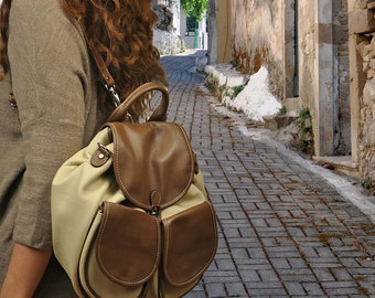 Leather handmade backpack -purse . Ossa in beige color with brown details MADE TO ORDER