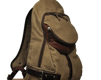 Italian canvas -leather backpack, Nota in light brown color