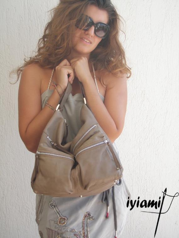 Leather Shoulder Bag  - Hermes in light grey-brown color MADE TO ORDER