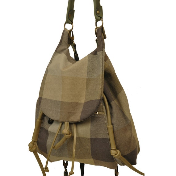 Handmade backpack in plaid heavy cotton with leather details,named Daphne MADE TO ORDER