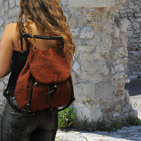 Handmade backpack in cotton wooven bordeaux-black fabric with leather details,named Daphne MADE TO ORDER