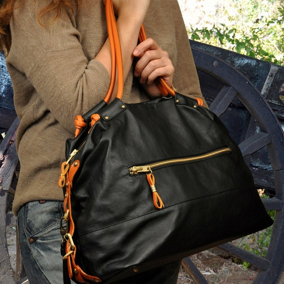 Leather  casual ,tote bag, called Sandra ,in black and orange leathers