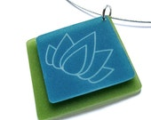 lotus flower necklace - yoga jewelry - aqua plastic pendant