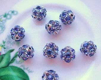 BEAUTIFUL Set of (4) Swarovski Crystal Tanzanite 8 MM Rounds