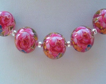 GORGEOUS Japanese Tensha Beads Pink Rose on Pink Clear 12 MM