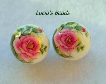 NEW Gorgeous Pair Pink Rose on White Japanese Tensha Beads 14 MM