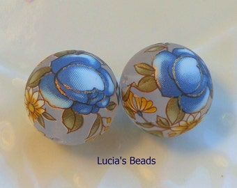 NEW Gorgeous Pair Blue Rose on Clear Frost Japanese Tensha Beads 14 MM