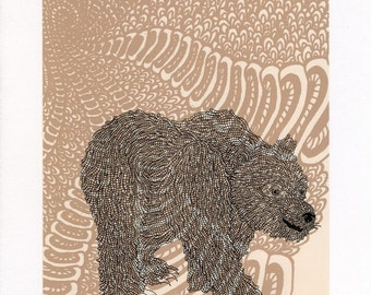 Woodland Bear Screenprint 8x10