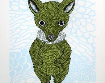 Baby Fox Screenprint 8x10
