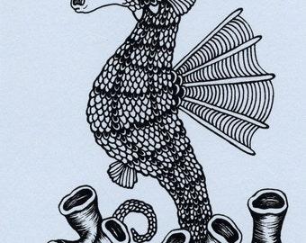 Seahorse Mini Screenprint 4x6