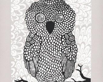 Owl Screenprint - Multi Color 8x10