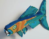 Colorful Funky Fish Art - Painted Recycled Wood ORIGINAL Whimsical Handmade Ready to Hang Fish Creation