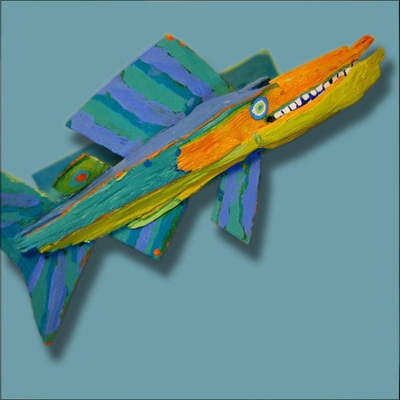 Table Top Fish Art - Colorful Whimsical Original Funky Fish Creation Recycled Wood Mixed Media 3d Ready to Hang Art