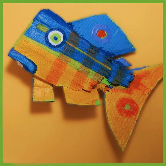 Handmade WHIMSICAL Fish Art - Original Colorful Funky Fish Recycled Wood Ready to Hang Creation