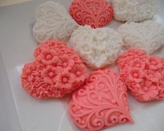 40 heart soap favors - heart baby shower favors -  heart wedding favors - bridal shower favors - first birthday favors - girl shower favors