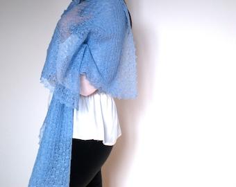 Linen Scarf  Sky Blue Shawl Gauzy Wrap Knitted Thin Shawl  Lace Scarf Christmas Gift Scarf