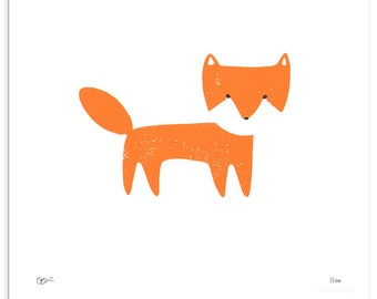 Orange Fox Woodcut Print - black white bright orange neon block linocut print new limited edition large hand drawn Christmas gift idea