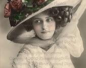 Big Hat Lady, Vintage photo digital download