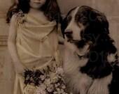 Vintage Photograph, Pretty Edwardian Gril and her Big Dog, Digital Download