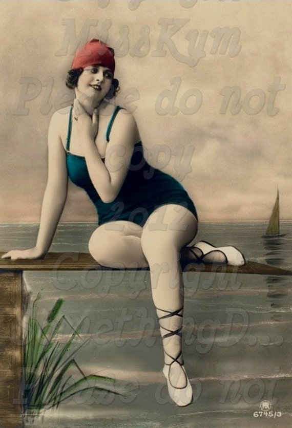 Blue suit and a Red cap, Bathing Beauty , Edwardian  Swimmer vintage photo digital download
