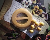 Vintage Round Butterscotch Bakelite Sash Buckle & 6 Matching Ball Buttons