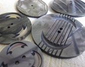 5 Vintage 1920s Carved & Pressed Celluloid Wafer Buttons