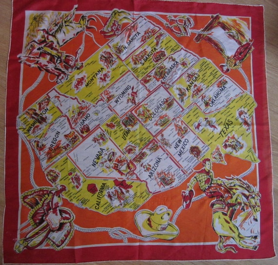 "Great Vintage 29"" Square Silk Cowboy Scarf w/ Southwestern States Map"