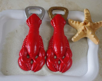 Seaside Cast Iron Lobster Bottle Opener - You Pick Silver or Gold