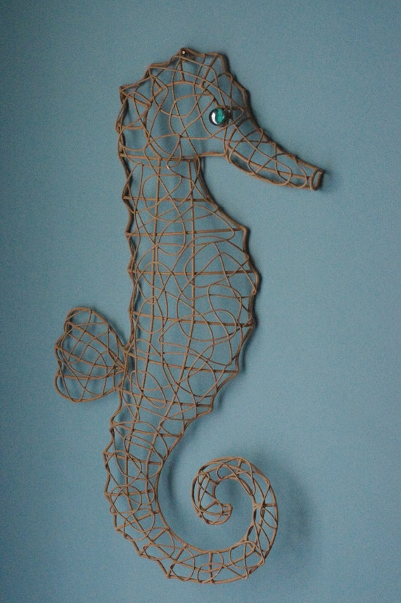 Seaside Metal Wire Seahorse - Sandy Textured with Turquoise Eye