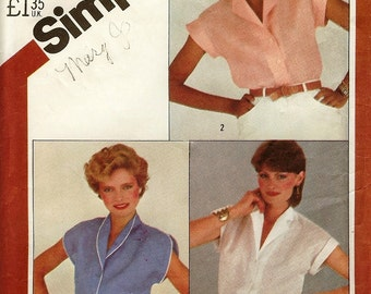 1980's Simplicity Blouse Pattern  5451 Size 14 Bust 36