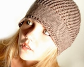 BeanieTaupe Knitted Cotton Hat
