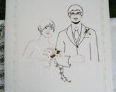 Hand Embroidered Silk Wedding Album - Custom Portrait