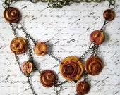 SALE - Steampunk Brass Chained Necklace