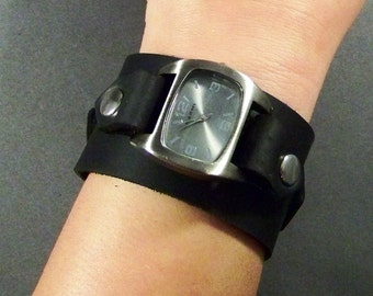 Black Leather Watch, Leather Watch Cuff, Mens Watch, Womens Watch, Bracelet Watch, Leather Wrist Watch, Friendship Gift, Gift for Women