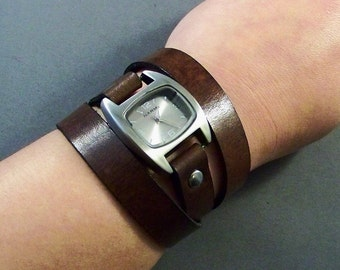 Leather Watch, Wrap Around Watch, Bracelet watch, Women Watch, Leather Wrist Watch, Men Watch, Brown Leather Watch, Leather Jewelry, Montre