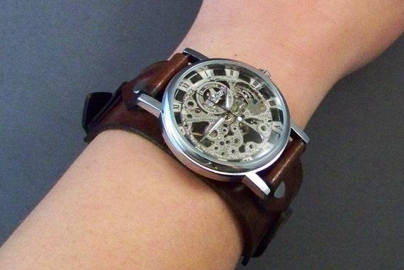 Leather Watch-Steampunk Watch-Mechanical Watch-Men Watch-Women Watch-Skeleton Watch-Gift for Men-Gift for Her-Gifts-Wrist Watch-Watches