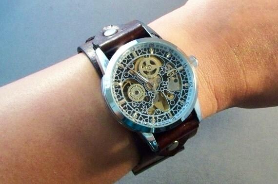 Brown Watch-Watches for Men-Cuff Watch-Friendship Gift-Gift for Him-Husband Gift-Boyfriend Gift-Birthday Gift-Groomsmen Gift-Handmade Watch