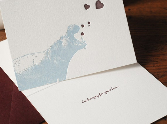 Hungry For Your Love (a hungry hungry hippo letterpress love note in a single card & envelope)