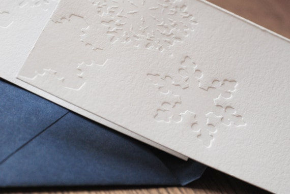 Snow Notes (a whispery winter greeting in 5 letterpress printed cards & envelopes)